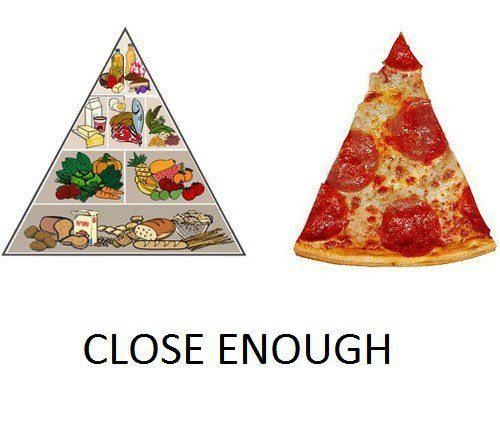 Piece of pizza is close enough to the whole food pyramid right?