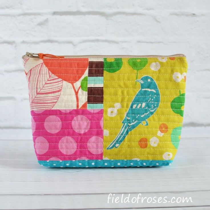 Quilted Zipper Pouch Patchwork Echino Cosmetic Project Bag