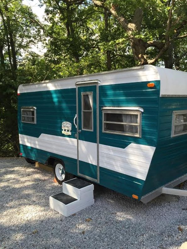 """Meet """"Dolly""""! She is ready for the road! This spunky gal is a 1974 Aloha completely refurbished 16' camper with all new wood look flooring, new cushions and upholstery, new black out curtains, fre..."""