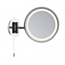 Polished Chrome 9w IP44 Fluorescent Magnifying Mirror With Pull Cord Switch