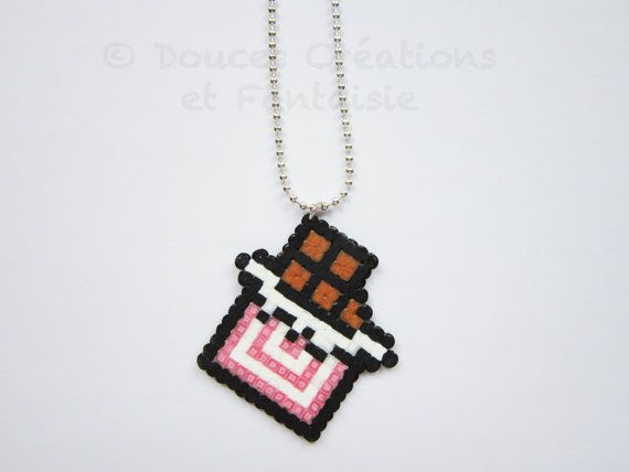 chocolate bar kawaii Necklace jewelry, greedy food jewelry, perler hama bead, 8bit pixel art geek, girl woman child, hand-made