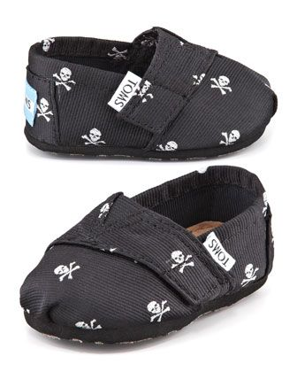 Tiny+Skull-Print+Slip-On+Shoes,+Black++by+TOMS+at+Neiman+Marcus.