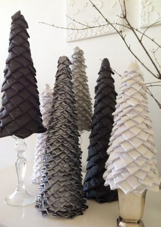 Christmas topiaries made from fabric and ribbons on a foam core modernchristmasdecor