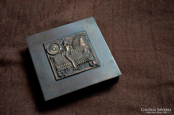 Kopcsányi Ottó bronz doboz retro iparművészeti