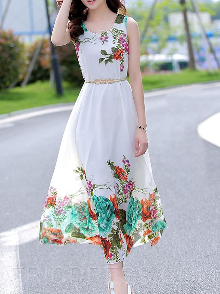 Ericdress Flower Print Sleeveless Maxi Dress Maxi Dresses