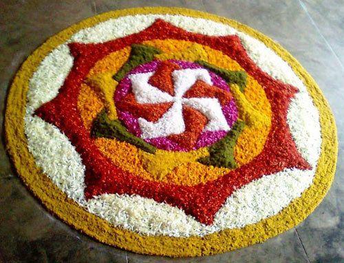 flower rangoli designs with dots