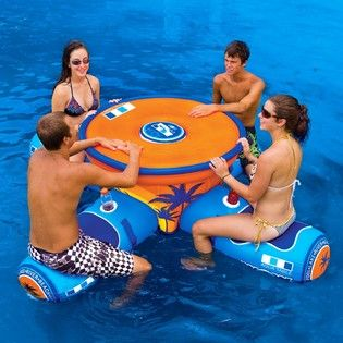Floating Aqua Table- with an interior cooler. Oh we are definitely getting this...