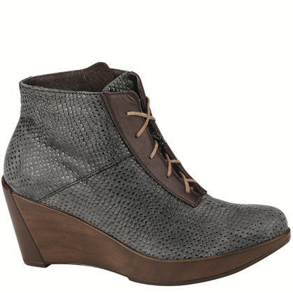 Women's Naot Nadine Lace Up Wedge Bootie Croc /French Roast