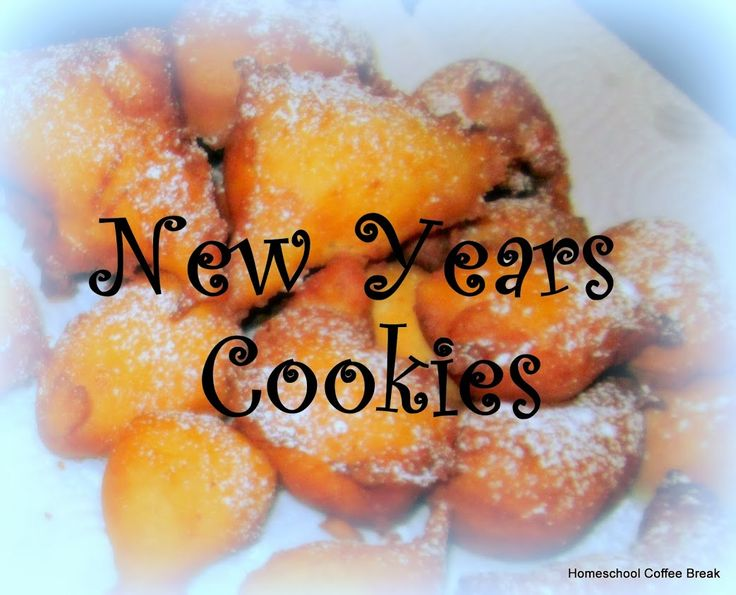 Niejoashe Koake (New Years Cookies) 4 eggs 1/4 cup sugar 3 tbsp butter 1-1/4 cup milk or cream 2 tsp baking powder pinch of salt flour, enough to make a spongy batter (I used about 2 cups) raisins, lots of them!