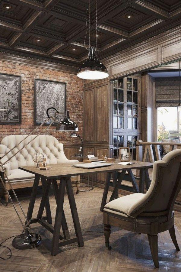 Awesome Vintage Industrial Decor Designs For Your Urban Lifestyle Vintage Industrial Design No 10 Rustic Home Offices Vintage Home Offices Home Office Design