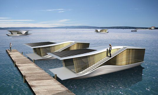 electric boat, floating home, floating architecture, mobile floating home, eco floating architecture, RAFAA, The Last Resort, germany, solar panels, solar power, integrated solar panels, eco design, green design, sustainable building