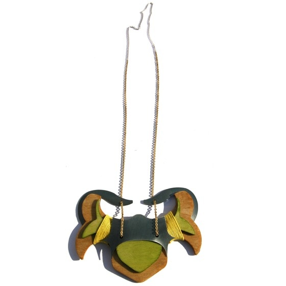 Mies Nobis 'Hirsch' Pendant, laser cut wood, brass and steel... $115.00: Laser Cut Wood, Nobis Hirsch