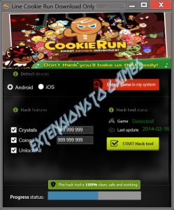 Line Cookie Run Cheat is aplication which can generate unlimited coins, crystal and unlock all.  http://extensionstogames.com/index.php/line-cookie-run-cheat/