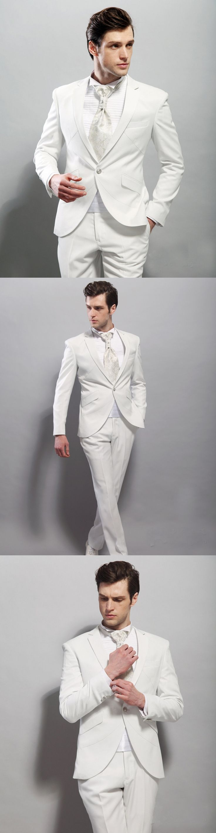 2017 Handsome Italian Style White Groom Tuxedos 2 Piece Best Man Suit Slim Fit Wedding Prom Dinner Suits For Men terno masculino