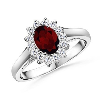 Angara Classic Oval Garnet Solitaire Ring With Petal Motifs in Platinum yznLENVU4u
