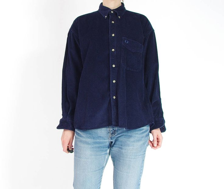 Vintage Fred Perry Navy Blue Corduroy Button Down Shirt / Size M by Only1Copy on Etsy