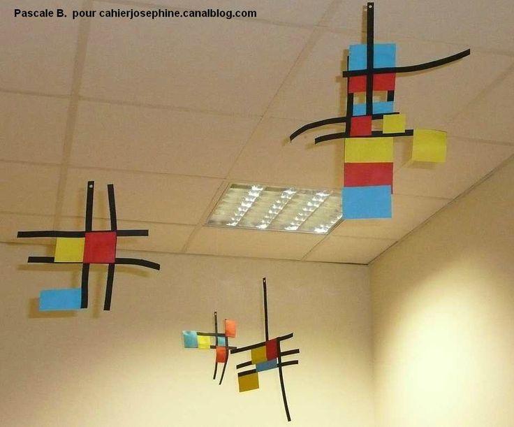 Elementary Art Lesson sulpture Piet Mondrian mobiles project 3D