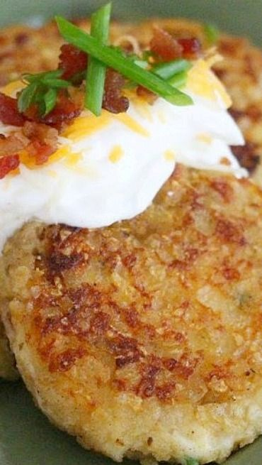 Loaded Potato Cakes. What can't you put on a #potato? | #Idaho | Visitidaho.org
