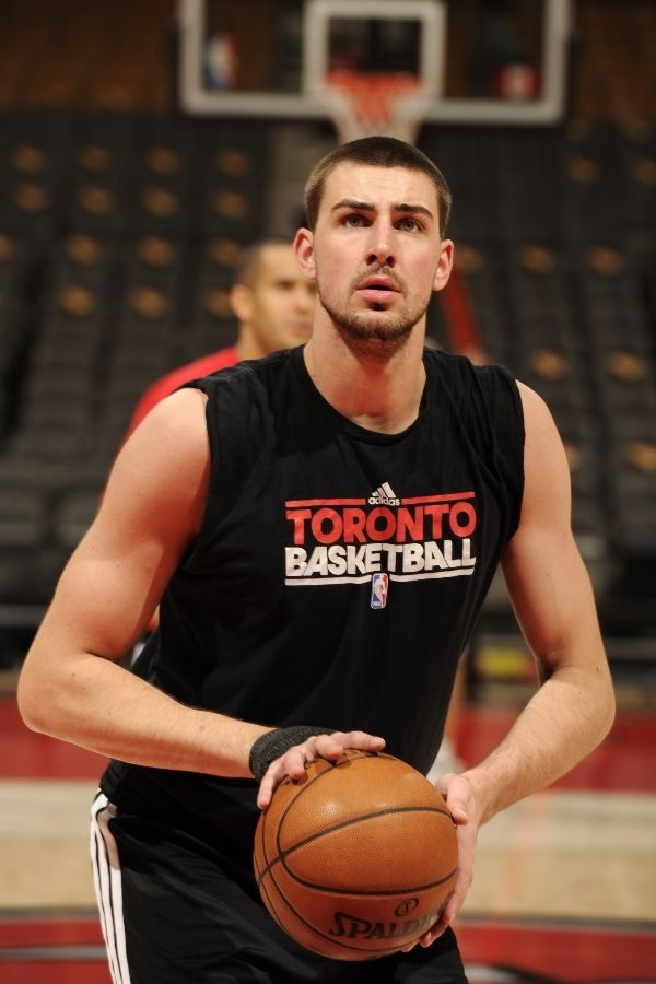 TORONTO, CANADA - FEBRUARY 1: Jonas Valanciunas #17 of the Toronto Raptors takes foul shots before the game against the Los Angeles Clippers on February 1, 2013 at the Air Canada Centre in Toronto, Ontario, Canada. NOTE TO USER: User expressly acknowledges and agrees that, by downloading and or using this Photograph, user is consenting to the terms and conditions of the Getty Images License Agreement. Mandatory Copyright Notice: Copyright 2013 NBAE (Photo by Ron Turenne/NBAE via Getty…