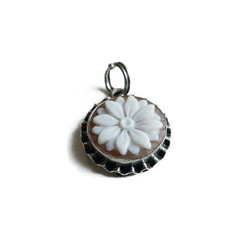 Flower cameo pendant sardonyx shell cameo silver cameo