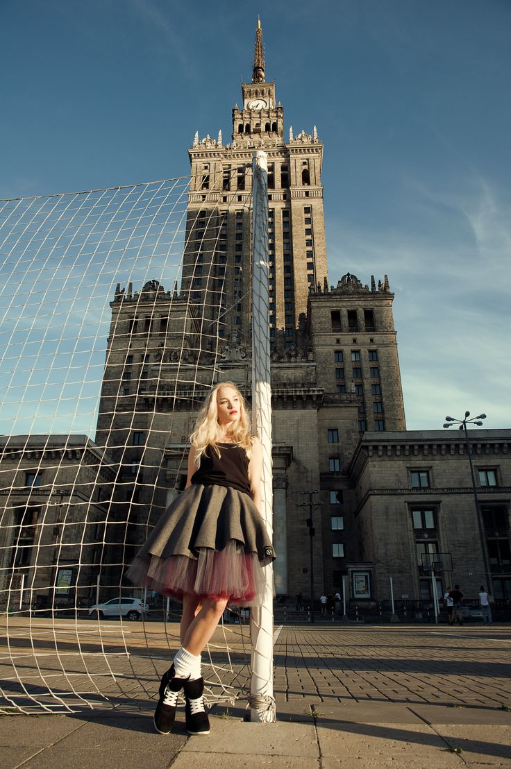 Katarzyna Kosmala in our Claret Ruffled Skirt photographed by Marcin Wiśnios near the Palace of Culture and Science, Warsaw #streetwearfashion