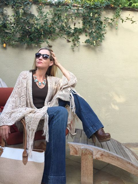 Flares Boho Chic Boho Over 40 Style Over 40 Crochet Cardigan Flare Jeans Kut Jeans Clogs