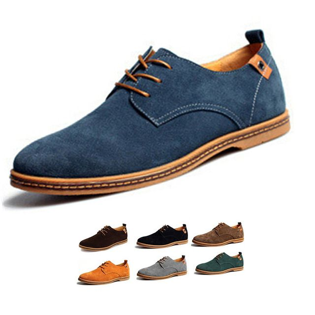 Men Shoes Suede European Style Genuine Leather Shoes Men Oxfords California Casual Loafers for Men Flats Casual Shoes Plsu Size