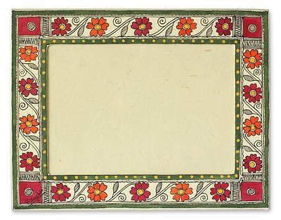 Madhubani photo frame, 'Flowers of Bihar' (5x7) by NOVICA