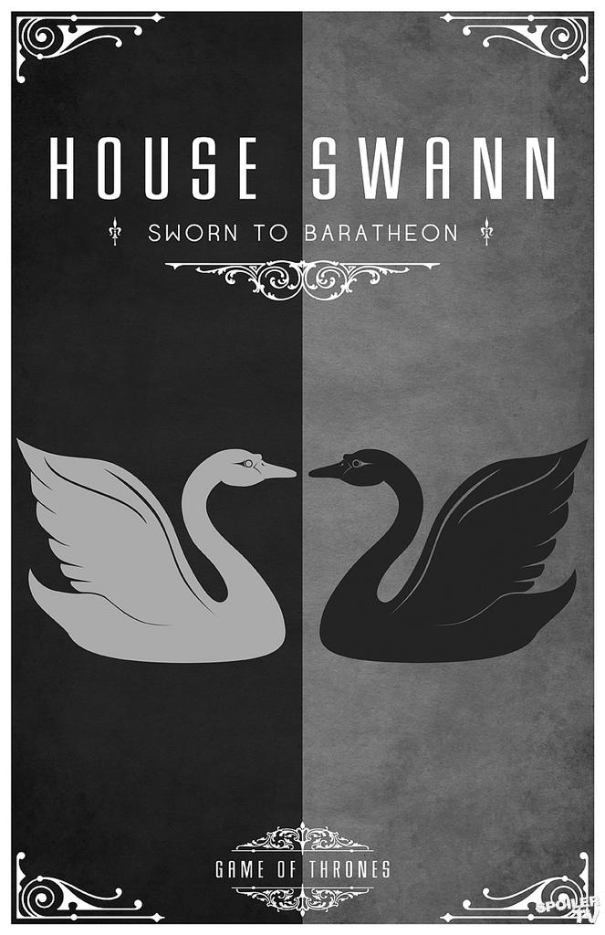 house swan game of thrones house sigils by tom gateley. Black Bedroom Furniture Sets. Home Design Ideas