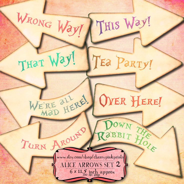 ALICE ARROWS Alice in Wonderland party decoration, shabby chic arrows, perfect for Alice wedding and parties. by CherryPinkPrints on Etsy https://www.etsy.com/listing/124770380/alice-arrows-alice-in-wonderland-party