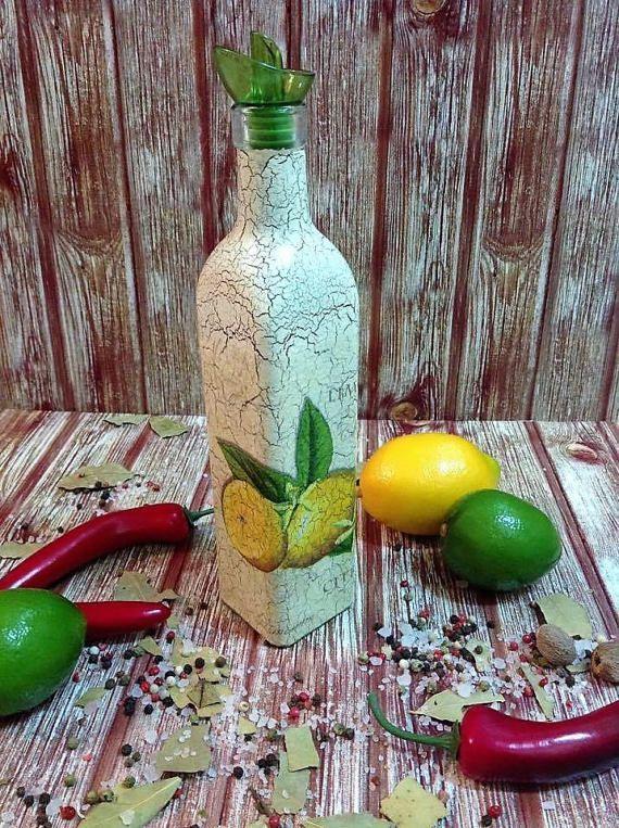 Olive oil vinegar cruet, glass bottle dispenser, lemons decor, mediterranean kitchen, cooking utensils, table restaurant decor, small gift