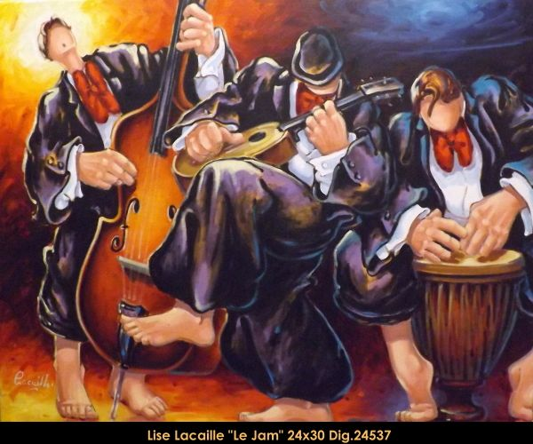 Lise Lacaille original oil painting on canvas #liselacaille #art #artist #canadianartist #quebecartist #fineart #figurativeart #originalpainting #oilpainting #CanadianArt #men #playing #instruments #multiartltee #balcondart
