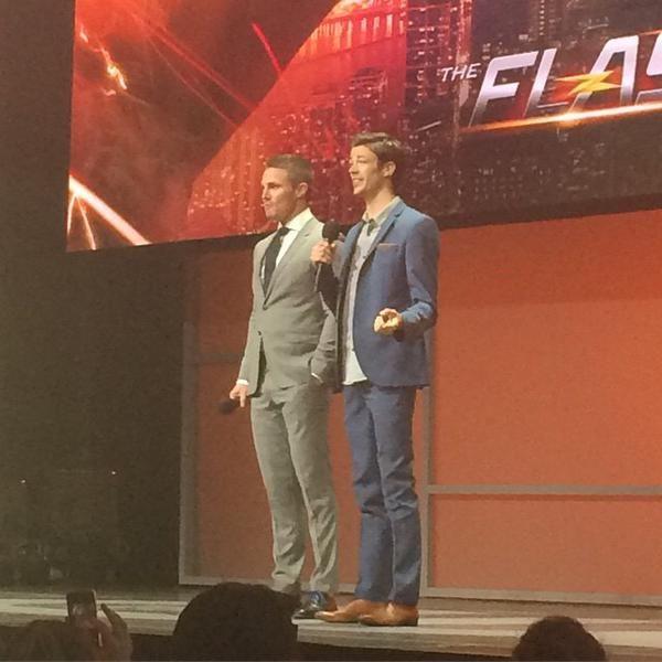 Stephen & Grant on stage at #CWUpfront  #Arrow #TheFlash #Flarrow