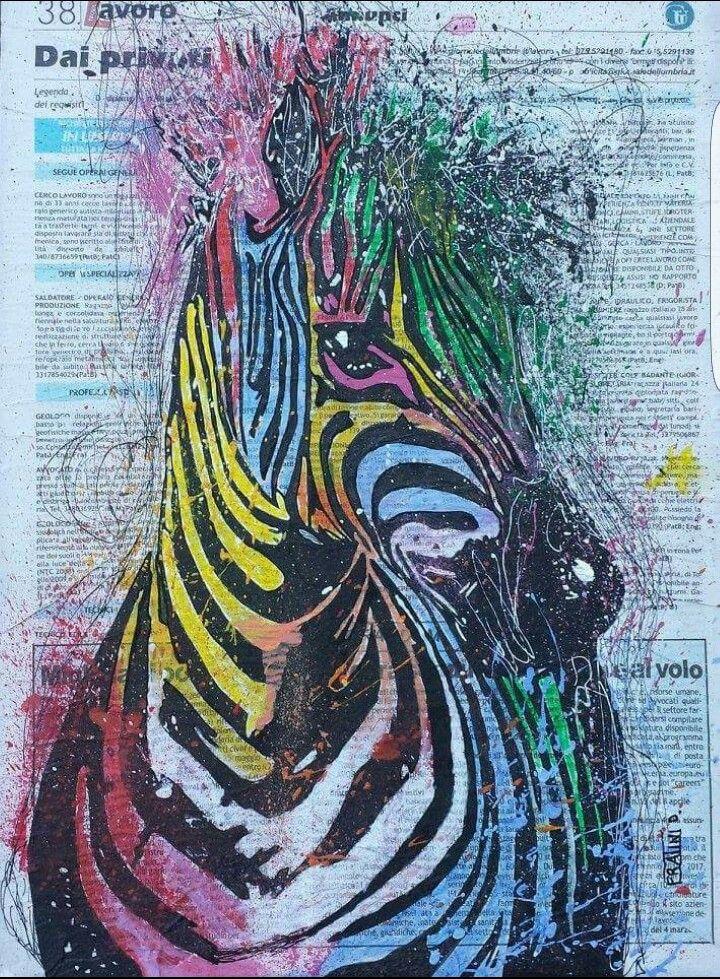 Zebra Pop Acrilico su tela con Giornale 40cmx30cm 2015   byDaniele Fratini