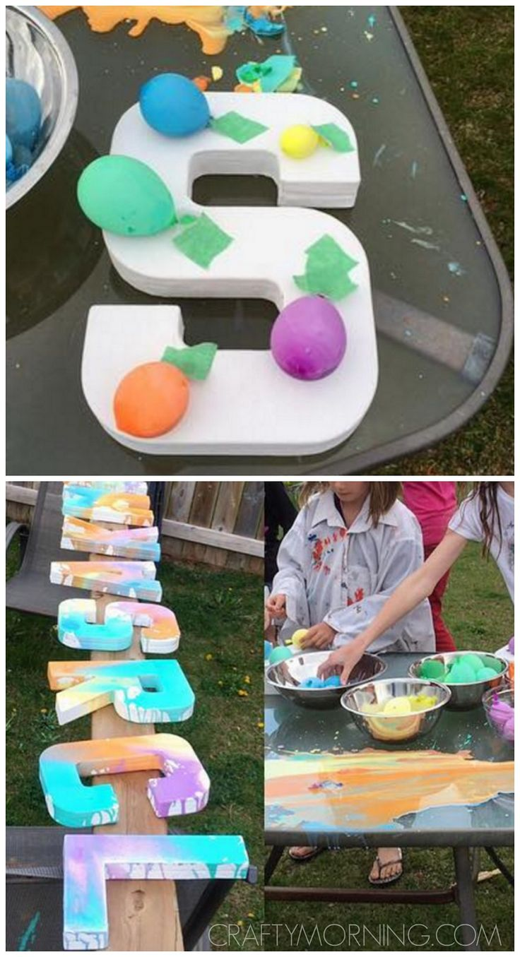 Balloon letter painting party! Such a fun kids activity for summer and birthday parties.