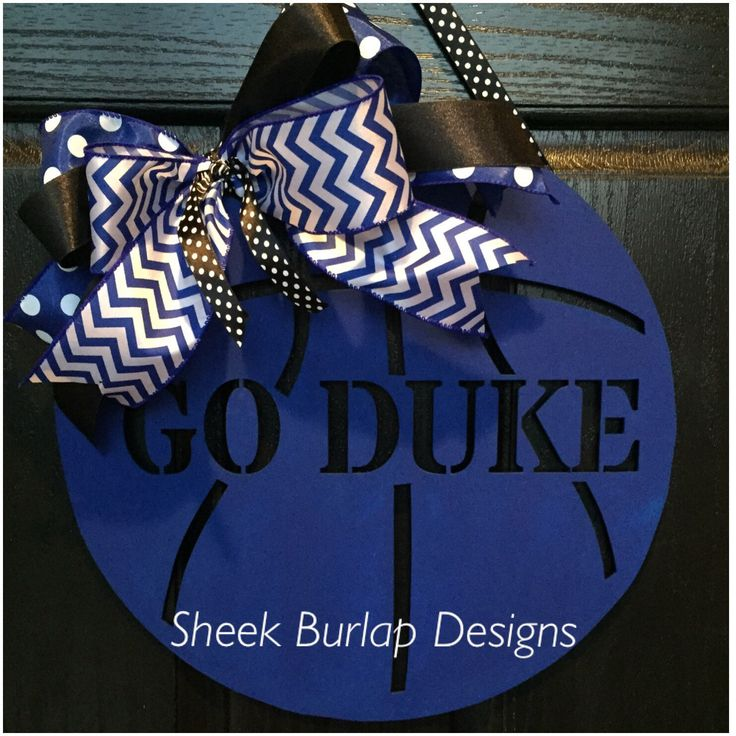 Basketball Door Hanger- Duke Door Hanger- Duke- Basketball Wreath- Duke Wreath by SheekBurlapDesigns on Etsy https://www.etsy.com/listing/253344396/basketball-door-hanger-duke-door-hanger