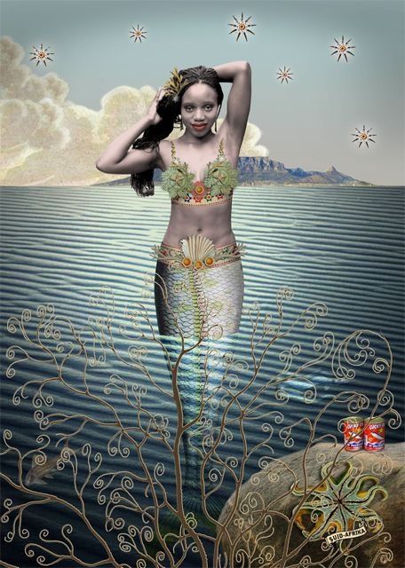 Sea maiden with stars by Karin Miller - South African art