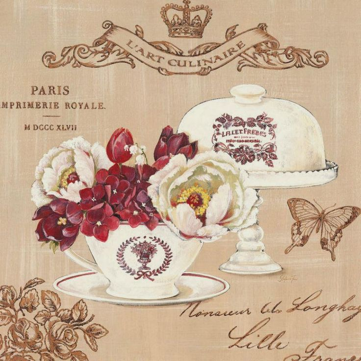 .collage of flowers/cake plate/Paris stamp