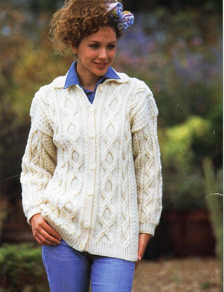 Womens Aran Cardigan Knitting Pattern Pdf Ladies Cable Jacket