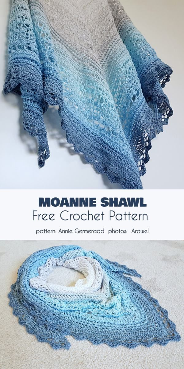 Moanne Shawl Free Crochet Pattern