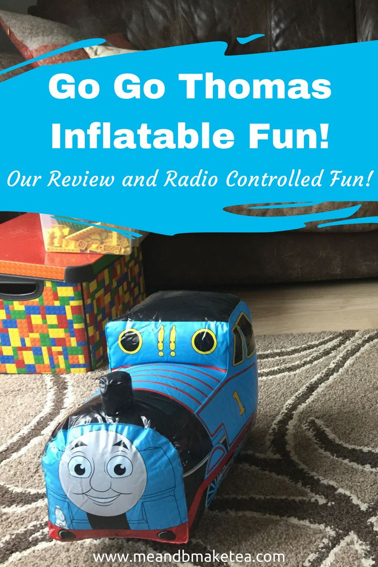 """B has always been a big Thomas the Tank Engine fan from a really young age. B loves Thomas so much we even incorporate it in our fun food! We have loads of Thomas branded stuff and when we were asked to review the Go Go Thomas Radio Controlled Inflatable toy by Bladez, we were just a little bit excited! I think daddy was more so than b!    To be honest, the concept of an """"inflatable"""" remote control toy sounded a bit odd initially and I just thought, """"yeah that's not gonna last long at all…"""