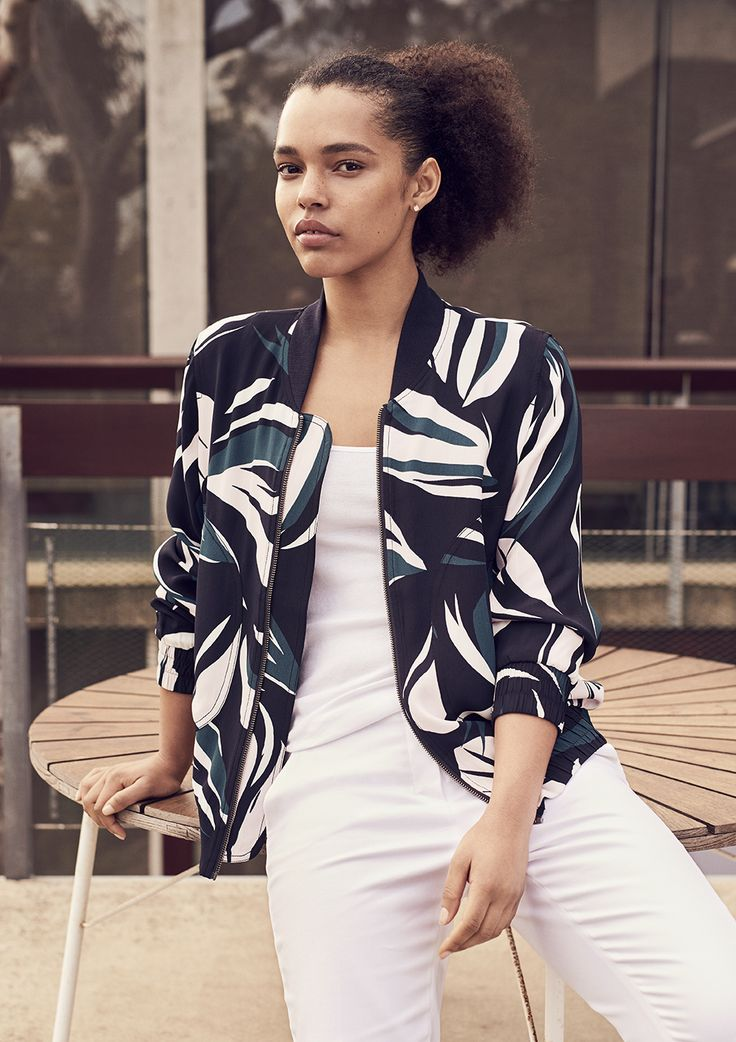 Part of our Trenery / Edit capsule this sporty, feminine bomber jacket is cut from lustrous draped viscose crepe with an abstract floral motif in rich jewel tones. This style has a slightly looser fit that is perfect for layering, tempered by an elasticated hem and sleeves.