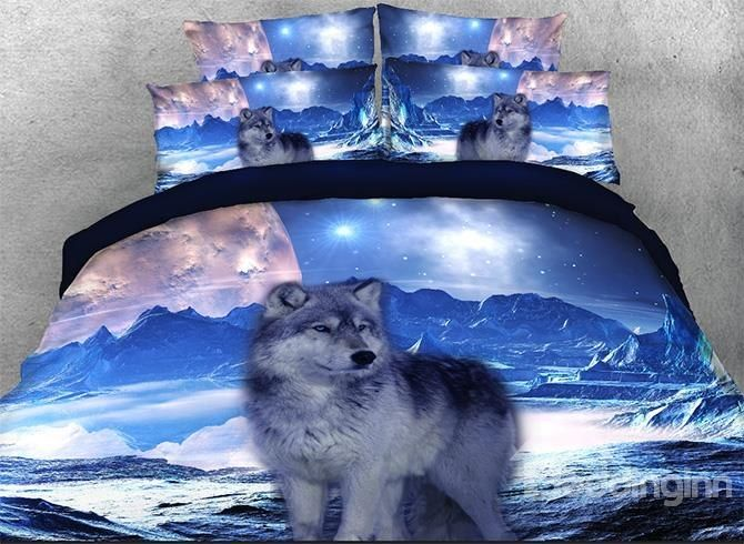 Onlwe 3d Mountain Wolf Printed Cotton 4 Piece Bedding Sets