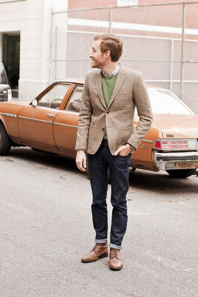 All the jcrew boys roll their pants up with their stylish boots!