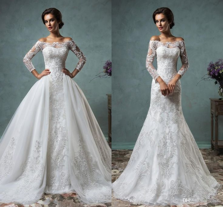 Amelia Sposa 2016 Vintage Lace Wedding Dresses with Detachable Skirt Stunning Cap Sheer Bateau Neckline Long Sleeve Tulle A Line Bridal Gown