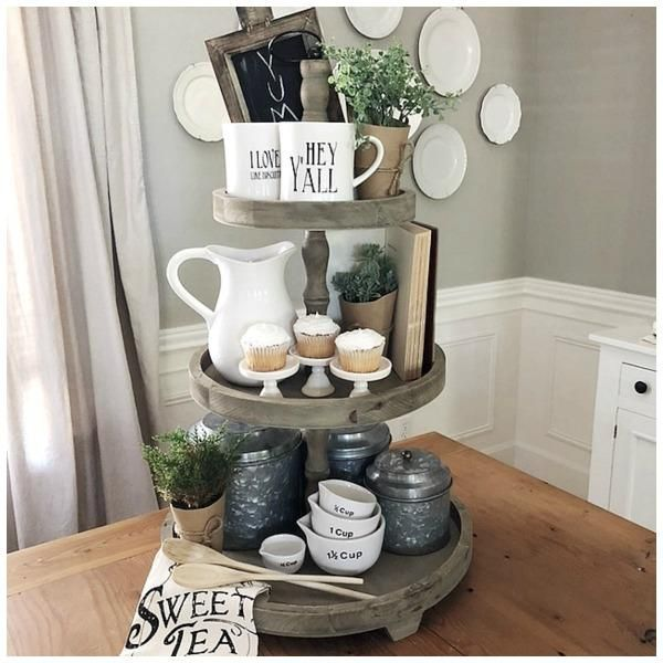 The Woodruff 3 Tier Serving Tray Is Made Of Wood With A Spooled Center That Adds A Touch Of Detail The Wo Country Farmhouse Decor Tiered Tray Decor Tray Decor
