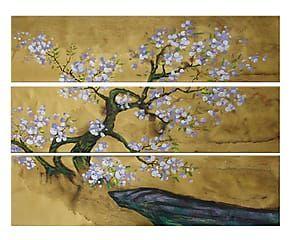 Composizione di 3 tele dipinte a mano Primavera giapponese - 100x30 cm