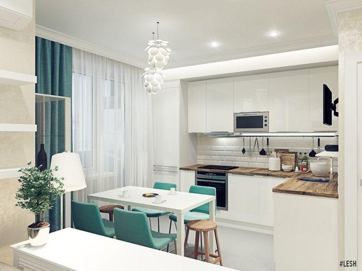 Интерьер кухни гостиной, планировка квартиры 50 кв метров · Tiny KitchensModern  ...