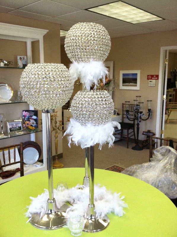 """Crystal Globe Candle Holders On Silver Stands Centerpiece 16"""" 24"""" and 32"""" CANDLES"""