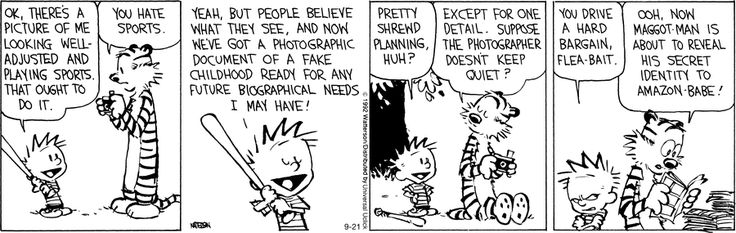 Blackmail: Fake Childhood, Future Biograph, Childhood Photos, Hobbes Comic, Comic Books, Photos Calvinandhobb, Calvin And Hobbes, Childhood Ready, Comic Strips